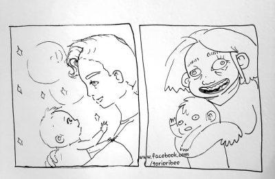 foto-con-la-mamma-vs-foto-con-il-papa:-la-vignetta-che-spopola-sui-social